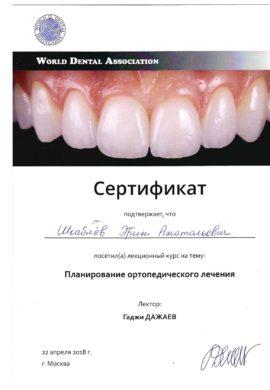Сертификат Шкаблев Эрик Анатольевич