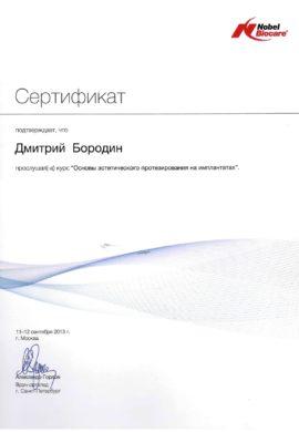 Сертификат Бородин Дмитрий Николаевич