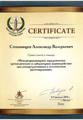 Сертификат Степанищев Александр Валерьевич