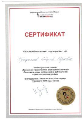 Сертификат Трофимов Андрей Юрьевич